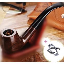 Tabakpfeife Pfeifen Raucher Holzkopf Holzpfeife mit Beutel Ständer 15cm