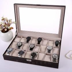 Uhrenkasten Uhrenschatulle für 24 Uhren Mit Schnappschloss Schwarz