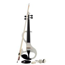 Elektrische Violine E-Violine E-Geige 4/4  mit Bogen, Weiss