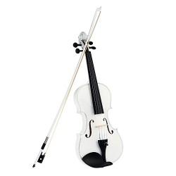 Violine Geige 4/4 weiß Set neu mit Zubehör Bogen Koffer und Geigenharz