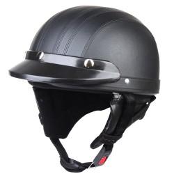 Rollerhelm Schutzhelm Motorrad Helm Mundschutz Sonnenblende schwarz