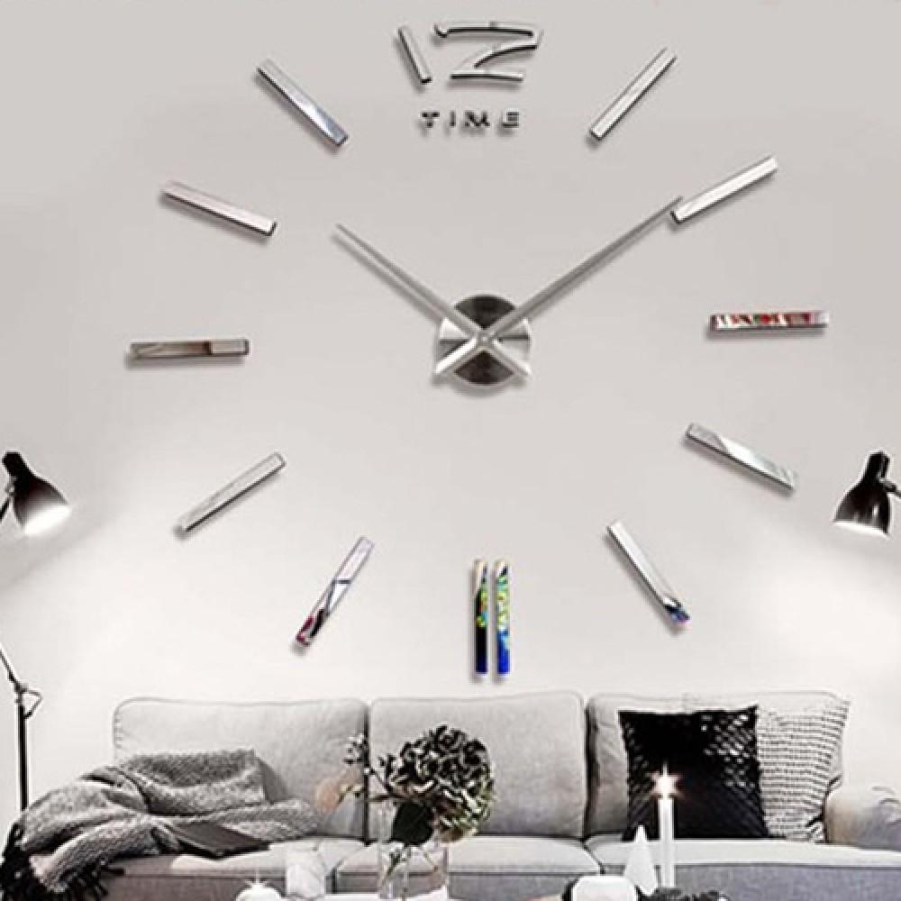 AuBergewohnlich Wandtattoo Uhr Silberne Designer Wanduhr Uhrwerk Wohnzimmer Dekoration