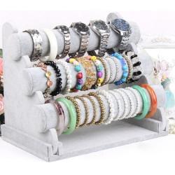 Schmuckständer Armbandständer Uhrenständer 3 Etagen grau