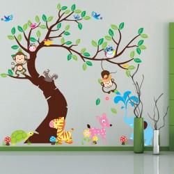 Cartoon Wandtattoo Wandsticker zum Kinderzimmer, Eulen&Affe 190x143cm