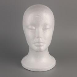 Weiblicher Modellkopf Schaumstoffkopf Styroporkopf Dekokopf weiß 53cm