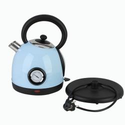 Wasserkocher Wasserkessel Teekanne mit Thermometer Edelstahl blau
