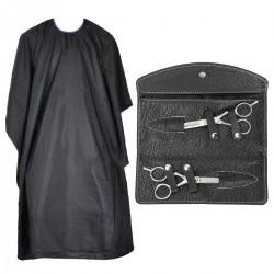 Friseur-Haarscheren mit Friseurumhang Haarschneideumhang schwarz 2er