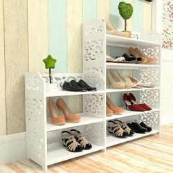Schuhregal Schuhablage Schuhschrank mit 5 Ebene Weiß Durchbrochen