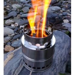 Campingkocher Edelstahl Holzofen Holzvergaser, mit Schutzbeutel