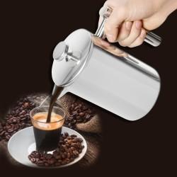 Kaffeebereiter Pressfilterkanne Tee Tasse Kessel 800ml silber
