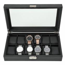 Uhrenbox PU Uhrendisplay Schmuckkästchen mit Schaufenster 12 Uhren
