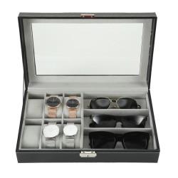Kombi Schatulle für 6 Uhren 3 Brillen, Brillen-Uhrenbox mit Schaufenster