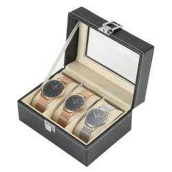 Uhrenbox Uhrenkasten Uhrenaufbewahrung für 3 Uhren PU schwarz