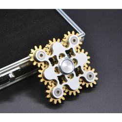9 Gear Linkage Fidget Hand Finger Spinner, Stressabbau, golden silbrig