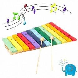 Xylophon Holz Glockenspiel Set 12 farbige Klangplatten + 2 Schläger