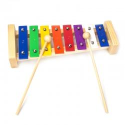 Kiefer Xylophon 8-nota Aluminium Platte mit Holz-Basis Spielzeug Musik