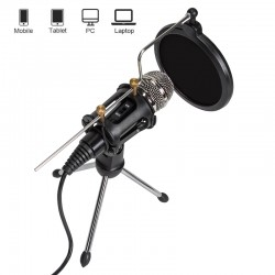 Kondensator Mikrofon Set Pro mit Ständer Popschutz für Studio Computer