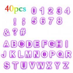 Fondant Ausstecher Set 40 Teile Satzzeichen Buchstaben und Zahlen