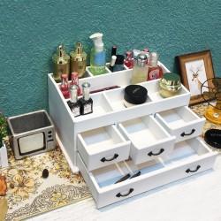 Kosmetik Aufbewahrung box Makeup Organizer aus Holz milchweiß