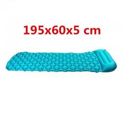 Isomatte Schlafmatte Camping Luftmatte Zelt mit Kissen blau