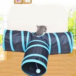 Katzentunnel T-Tunnel 3-Wege Rascheltunnel Katzenspielzeug Faltbar