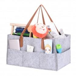 Kosmetiktasche Windeltasche Filzkorb Babytasche 4-Fach Filz grau