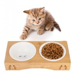 Katzennäpfe Haustierbehälter Schüssel mit Bambus Ständer für Katze