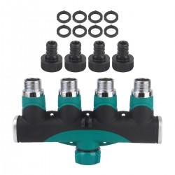 Schlauch Wasserhahn Splitter Ventil 4 Wege Adapter Verteiler Set grün