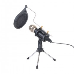 Kondensatormikrofon Aufnahmemikrofon Standmikrofon mit Stativ Schwarz