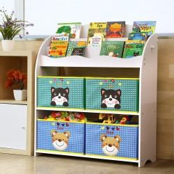 Kinder Bücherregal Spielzeugkiste Aufbewahrungsregal mit 4 Schubladen