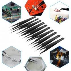 10er Pinzetten Anti Statik Edelstahl Präzisions Reparatur Werkzeug Set