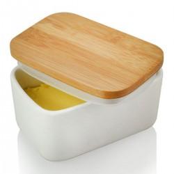 Butterdose Porzellan für Butter Holzdeckel mit Silikon-Dichtlippe
