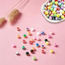 300 Stück Acryl Rund Perlen Mehrfarbig Regenbogen mit Perlenschnur