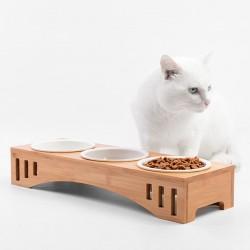 Katzennäpfe Keramik Set mit Bambus Ständer Haustier Schüssel für Hund Katze
