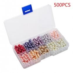 500er Glasperlen Runde Sortierte Mehrfarbig Perlen für Schmuckherstellung