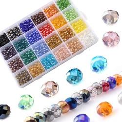 Glasperlen Rondelle Kügelchen Perlen mit Aufbewahrungsbox DIY 1200pcs