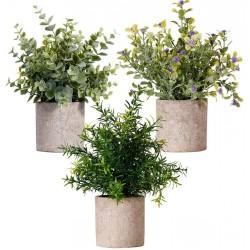3er Set künstliche Eukalyptus Pflanzen aus Kunststoff künstliche grün