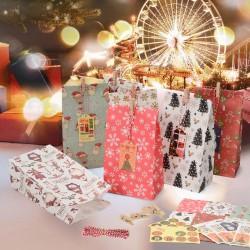 24 Stück Geschenktaschen Partytasche Weihnachten Papiertüte Geschenkbox
