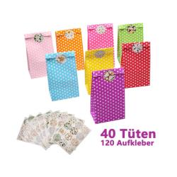 Candy Tüten Süssigkeiten Beutel 40 Stück mit 120 Aufkleber für Geschenk