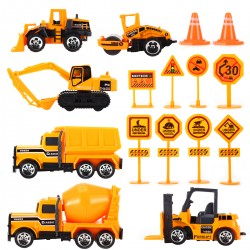 16pcs Auto Spielzeug Set Konstruktionsfahrzeuge Fahrzeuge im Träger LKW