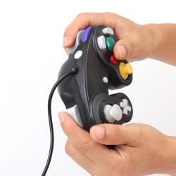 Classic Draht Shock Joypad Spiel Stick Pad Controller für NGC Schwarz