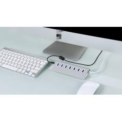 1m 7 Ports USB 3.0 Hub Kabel Super Speed Aluminum f. PC + Mac Silber