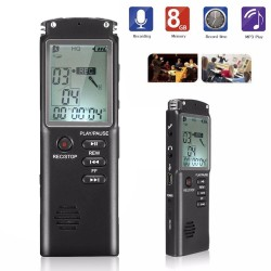 8GB Digital MP3 Player Voicerecorder Diktiergerät Aufnahmegerät schwarz