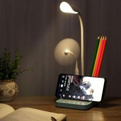 Nachttischlampe Leselampe Tischleuchte mit Schwanenhals Handyhalter