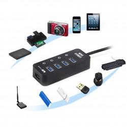 USB Hub Aktiv 3.0 mit Netzteil 4 Ports aktiv Datenhub mit Schalter