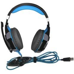 G2000 Stirnband Kopfhörer USB PC Gaming Headset mit Mic Schwarz Blau