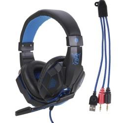 Kopfhörer Gaming Hörer Headset LED Licht mit Mikrofon für PC Computer
