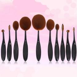 Pinsel Set Oval 10er Make up Pinsel Bürsten Satz Zahnbürste Schwarz