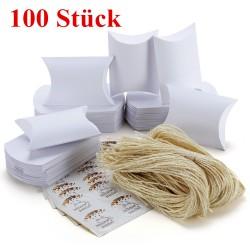Kissenförmige Geschenkbox Kraftpapier Pralinenschachtel 100er weiss