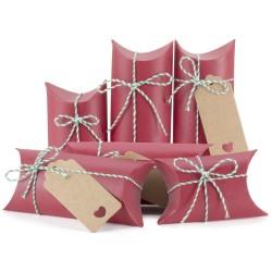 Kissenförmige Geschenkboxen Kraftpapier 24pcs mit Juteschnur rot